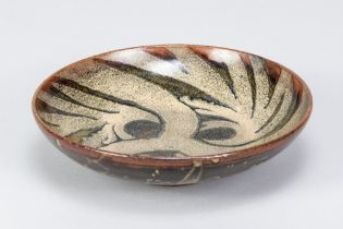 CHARLES VYSE (1882-1971); a stoneware footed dish with floral decoration, incised signature and