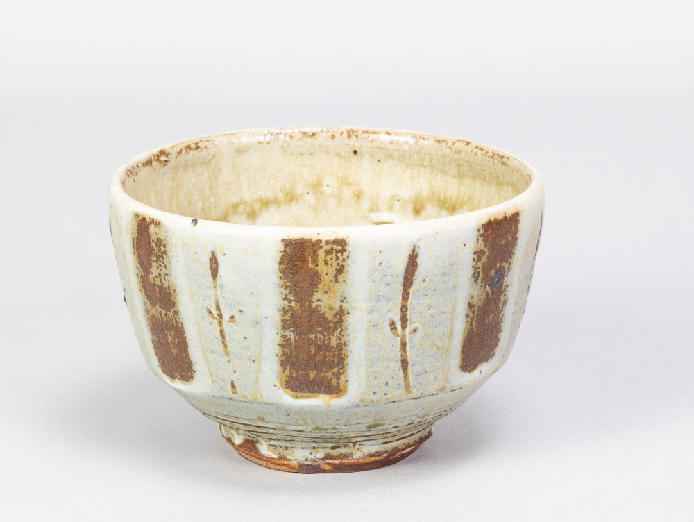 MIKE DODD (born 1943); a stoneware footed bowl covered in greeh ash glaze with wax resist and - Image 2 of 5