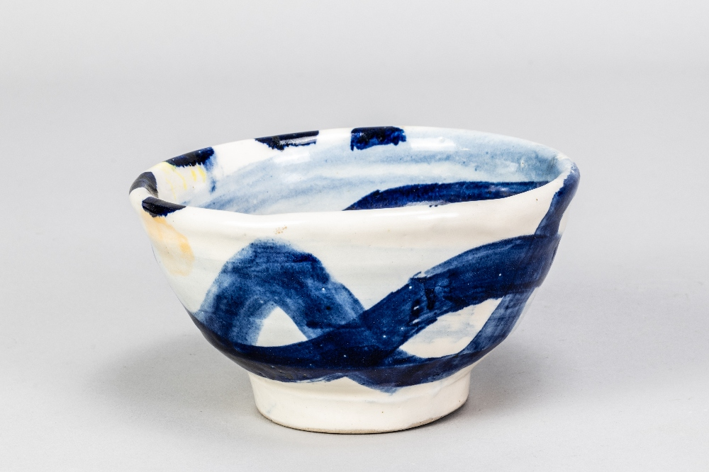 SANDY BROWN (born 1946); a stoneware footed bowl with blue and orange decoration on white ground, - Image 2 of 4
