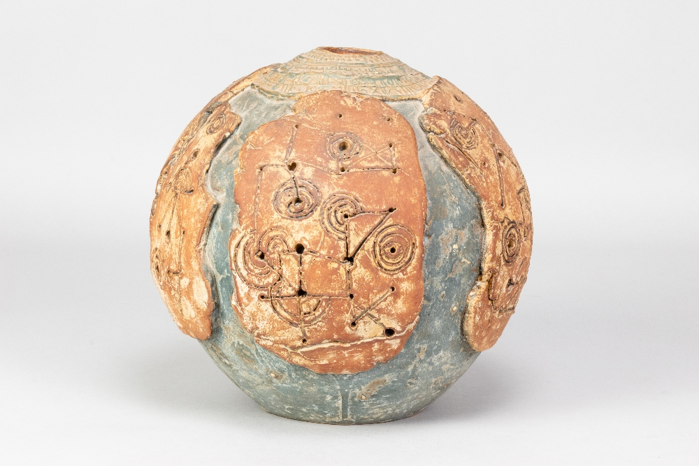 BERNARD ROOKE (born 1938); a large stoneware globular pot with applied and incised decoration and - Image 2 of 5