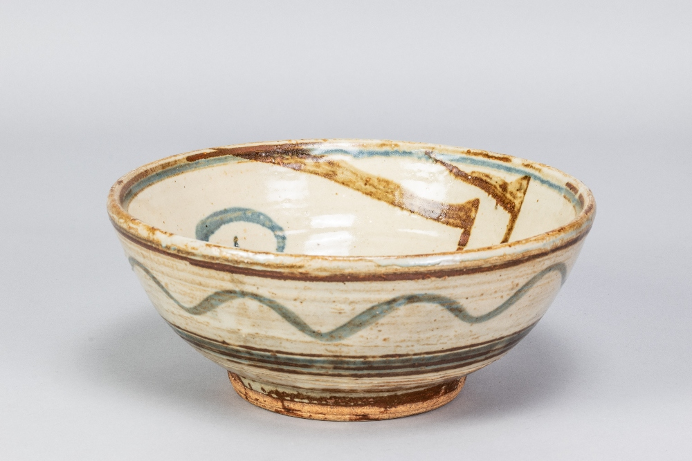MICHAEL CARDEW (1901-1983) for Wenford Bridge Pottery; a stoneware footed bowl with iron and