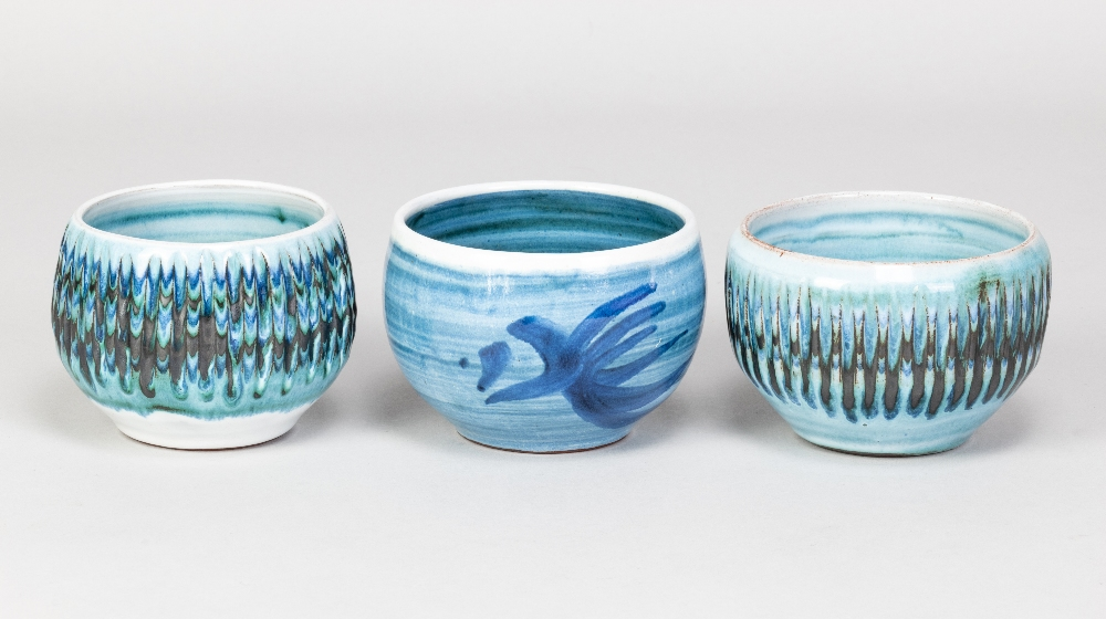 DENNIS LUCAS (1926-1999) for Hastings Pottery; three tin glazed earthenware bowls, impressed pottery - Image 2 of 5