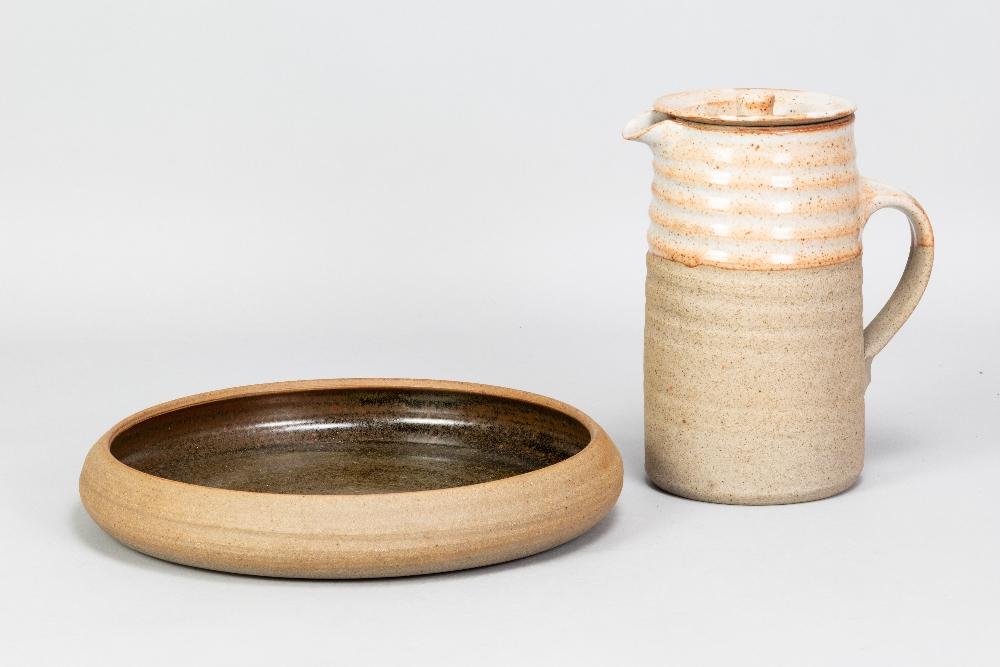 COLIN PEARSON (1923-2007); a stoneware coffee pot with shino topand a stoneware dish, impressed