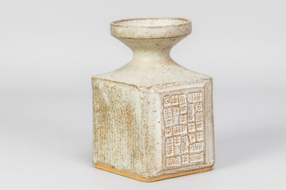 MO JUPP (1938-2018); a square stoneware vase with hieroglyphics covered in grey glaze, impressed MOJ