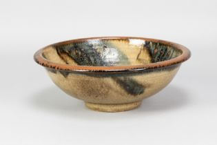 BERNARD LEACH (1887-1979) for Leach Pottery; a large footed bowl with iron and cobalt decoration