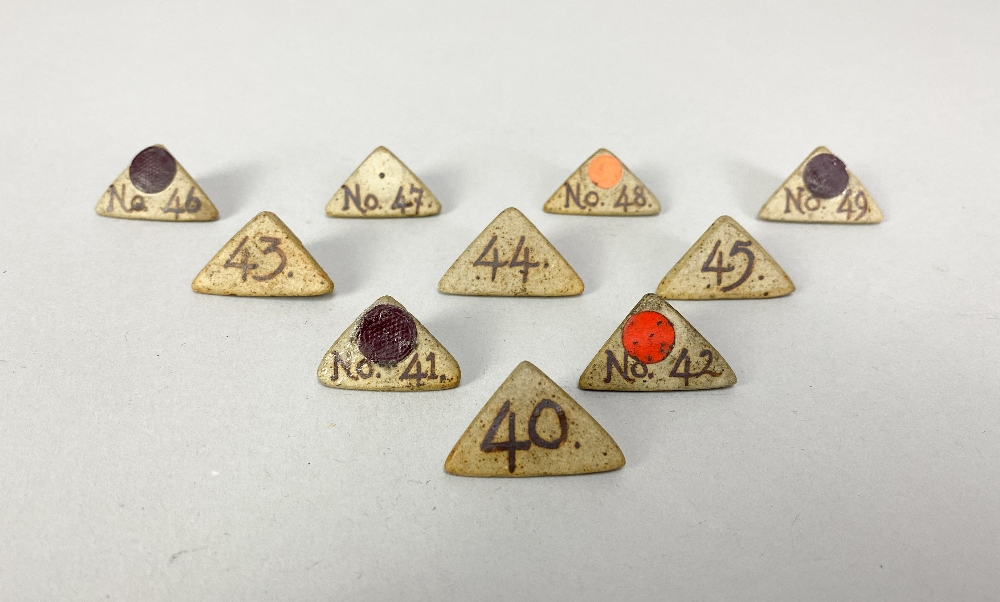 MARGARET REY (1911-2010); a set of triangular stoneware exhibitionnumbers, made 1938, and an - Image 6 of 9