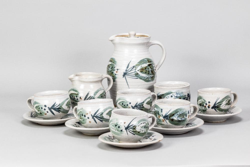 MARIANNE DE TREY (1913-2016); astoneware coffee set with 'Pattern 5' decoration comprising coffee