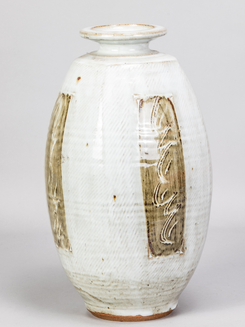 WILLIAM PLUMPTRE (born 1959); a tall stoneware bottle covered in braided white glaze decorated - Image 2 of 4