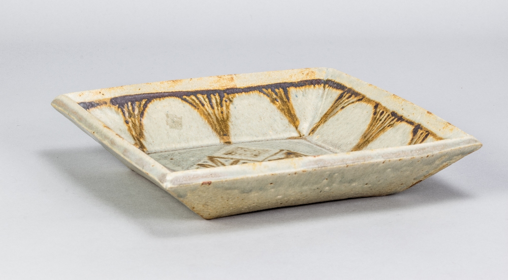 VERA TOLLOW (born 1931); a square stoneware dish covered in green/grey glaze with iron decoration, - Image 2 of 5