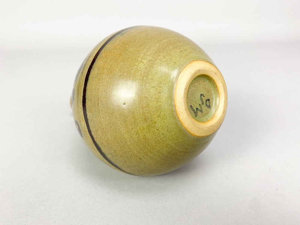 DONALD MILLS (1922-1996); a small stoneware bottle with iron floral decoration on green ground, - Image 4 of 5
