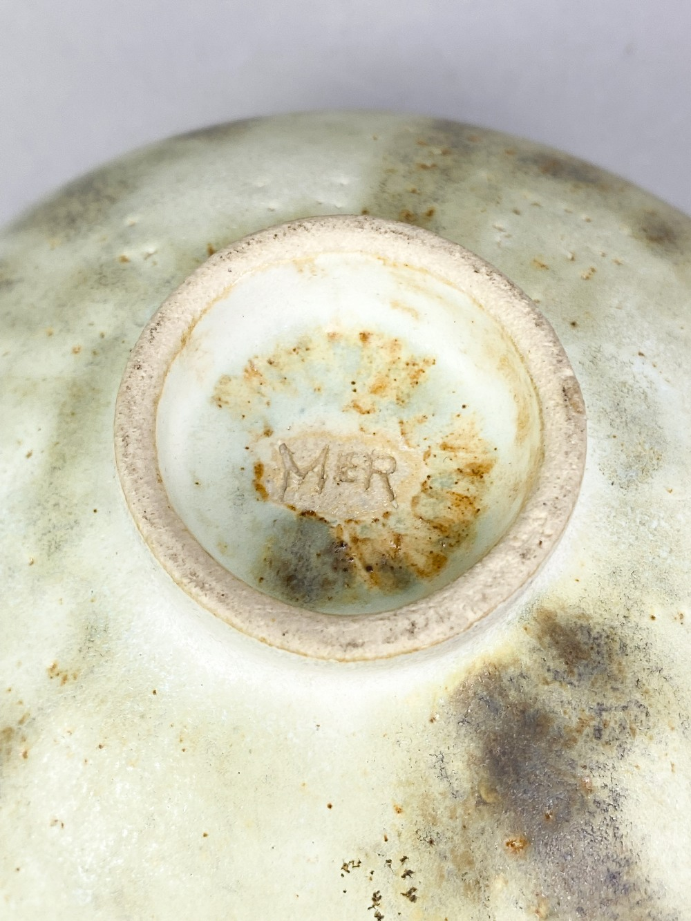 MARY ROGERS (born 1929); a porcelain footed bowl covered in mottled pale green glaze with - Image 5 of 5