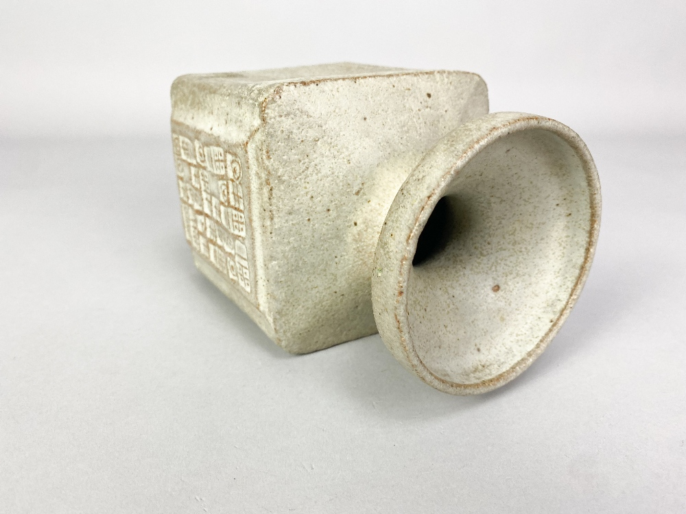 MO JUPP (1938-2018); a square stoneware vase with hieroglyphics covered in grey glaze, impressed MOJ - Image 3 of 6