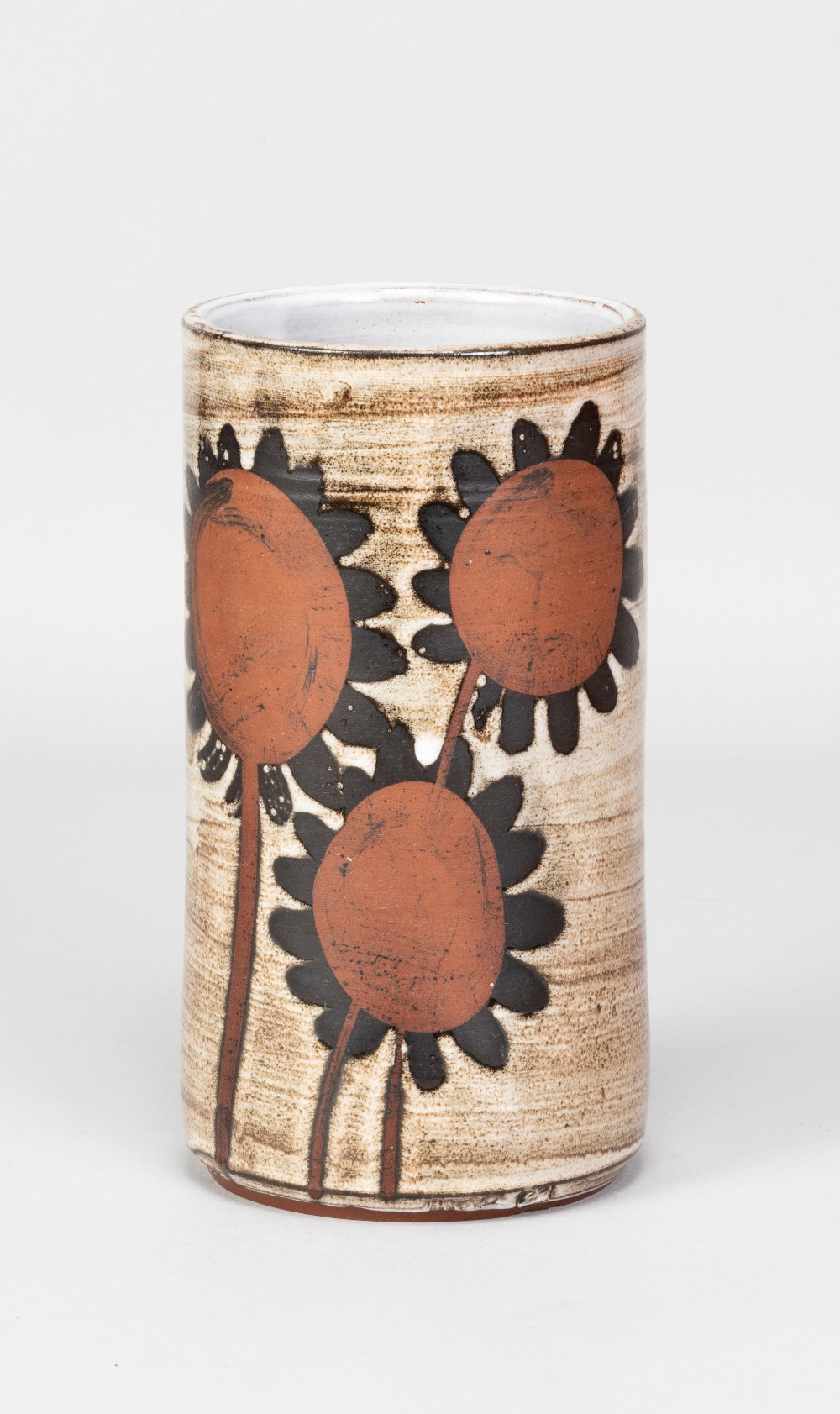 Briglin Pottery; a tall cylindrical tin glazed earthenware vase with sunflower decoration, impressed - Image 2 of 5