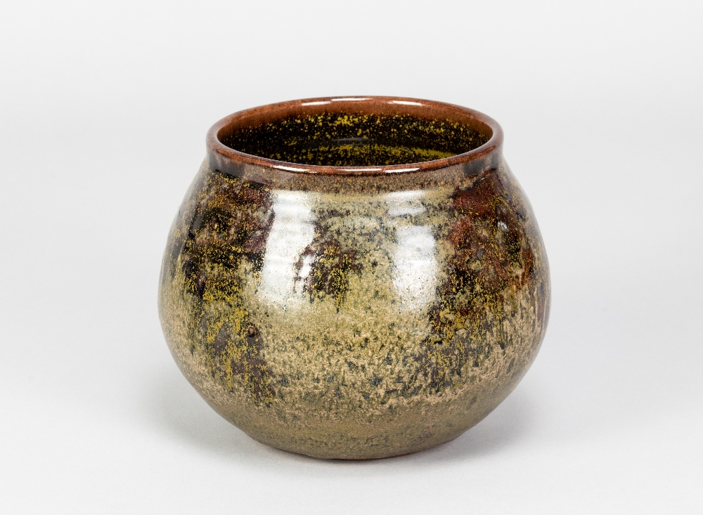 CHARLES VYSE (1882-1971); a stoneware vase covered in mottled green and tenmoku glaze, painted and - Image 2 of 5