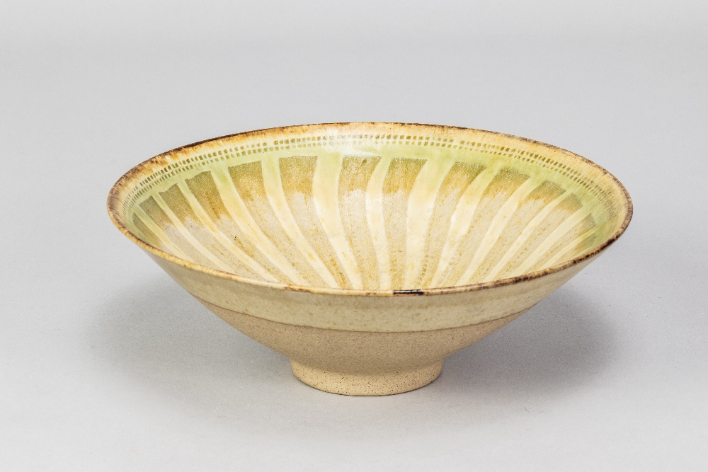 GEOFFREY EASTOP (1921-2014); a stoneware bowl partially covered in green glaze with radiating