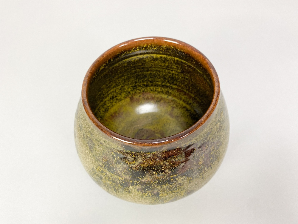 CHARLES VYSE (1882-1971); a stoneware vase covered in mottled green and tenmoku glaze, painted and - Image 3 of 5