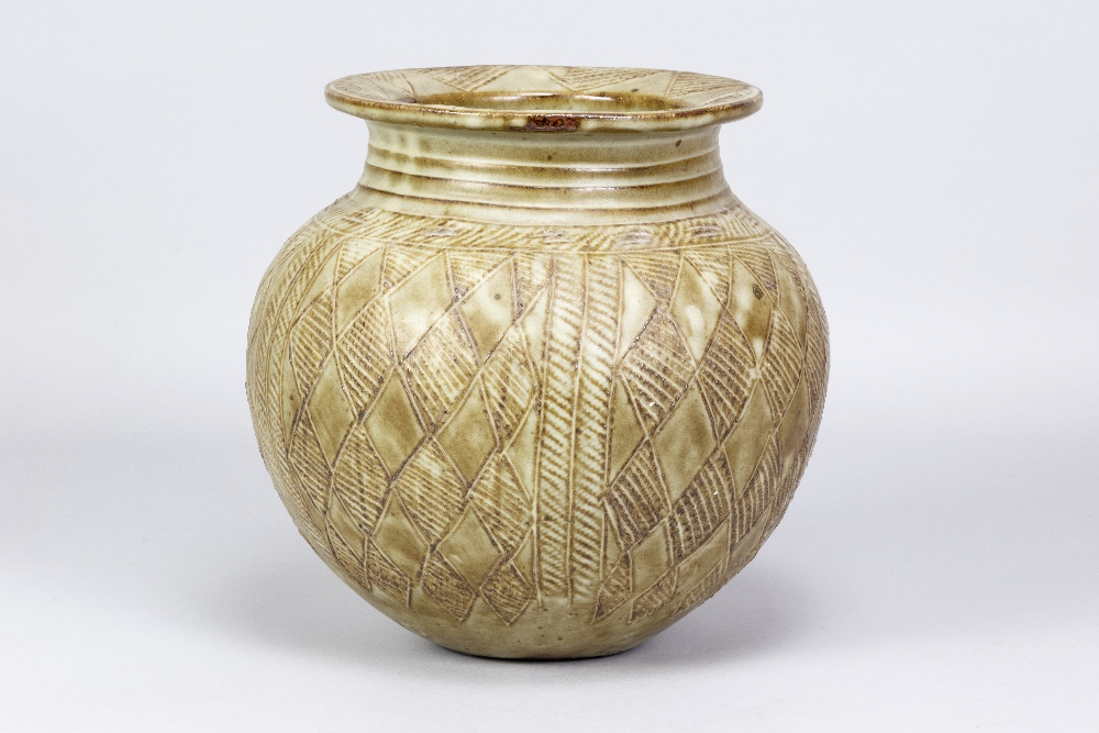 ASIBI IDO for Abuja Pottery; a large stoneware water pot covered in green/grey glaze with incised