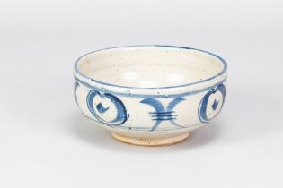 URSULA MOMMENS (1908-2010); a stoneware footed bowl with cobalt decoration on mottled pale grey