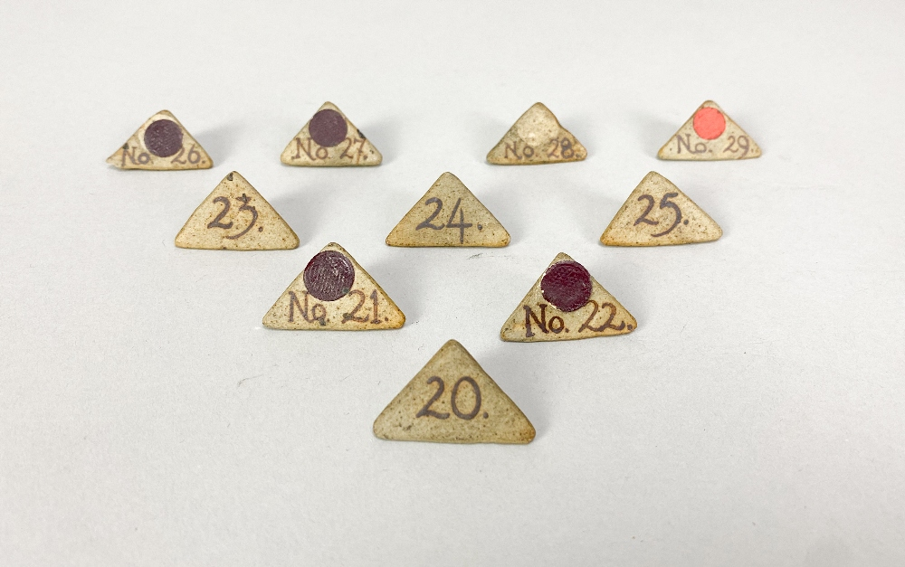 MARGARET REY (1911-2010); a set of triangular stoneware exhibitionnumbers, made 1938, and an - Image 4 of 9