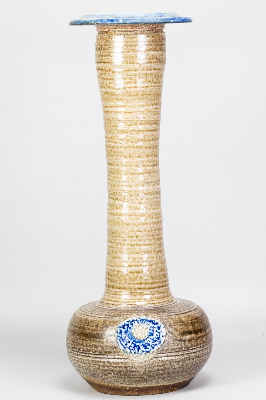 KAREN KARNES (1925-2016); a tall salt glazed bottle with elongated neck, cobalt rim and applied