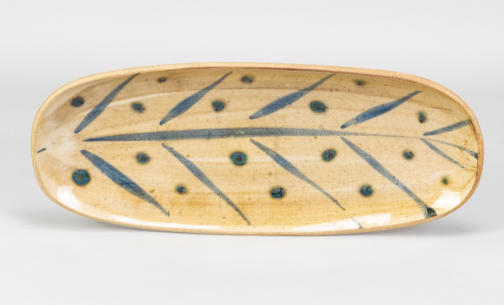 MICHAEL LEACH (1913-1985) for Yelland Pottery; a long stoneware dish with cobalt decoration on - Image 2 of 4