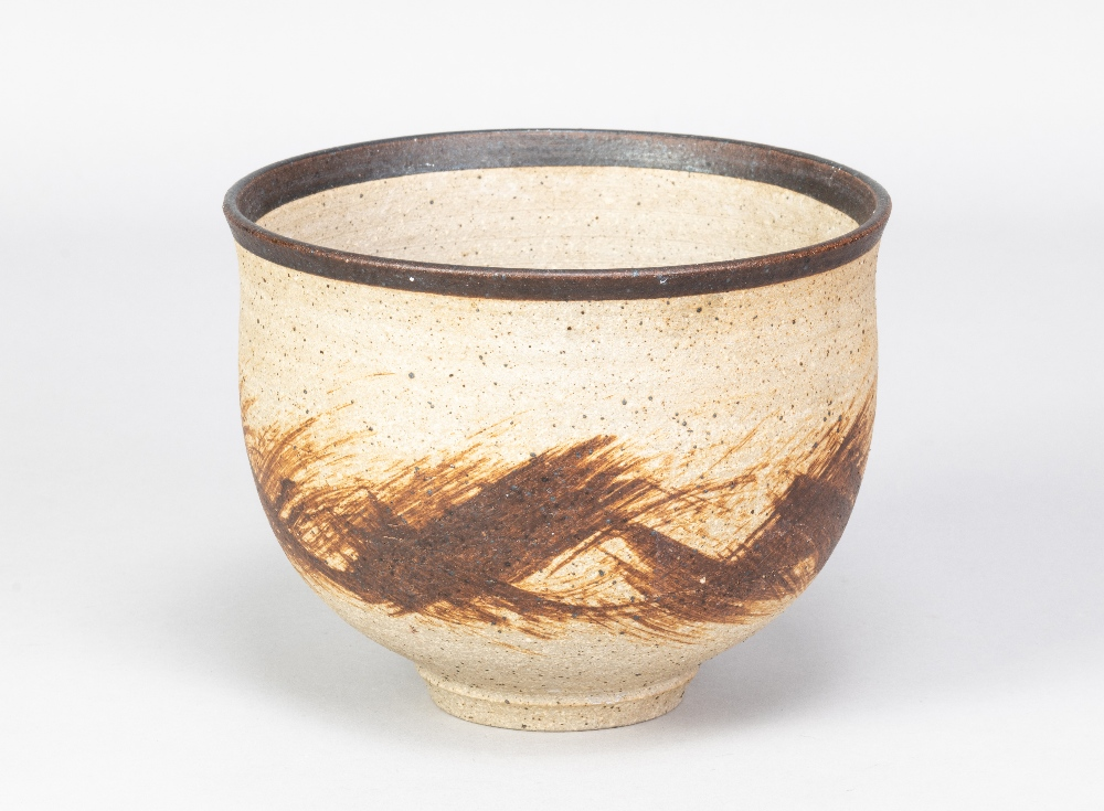 BARBARA CASS (1921-1992); a stoneware bowl with manganese rim and iron decoration, incised BC