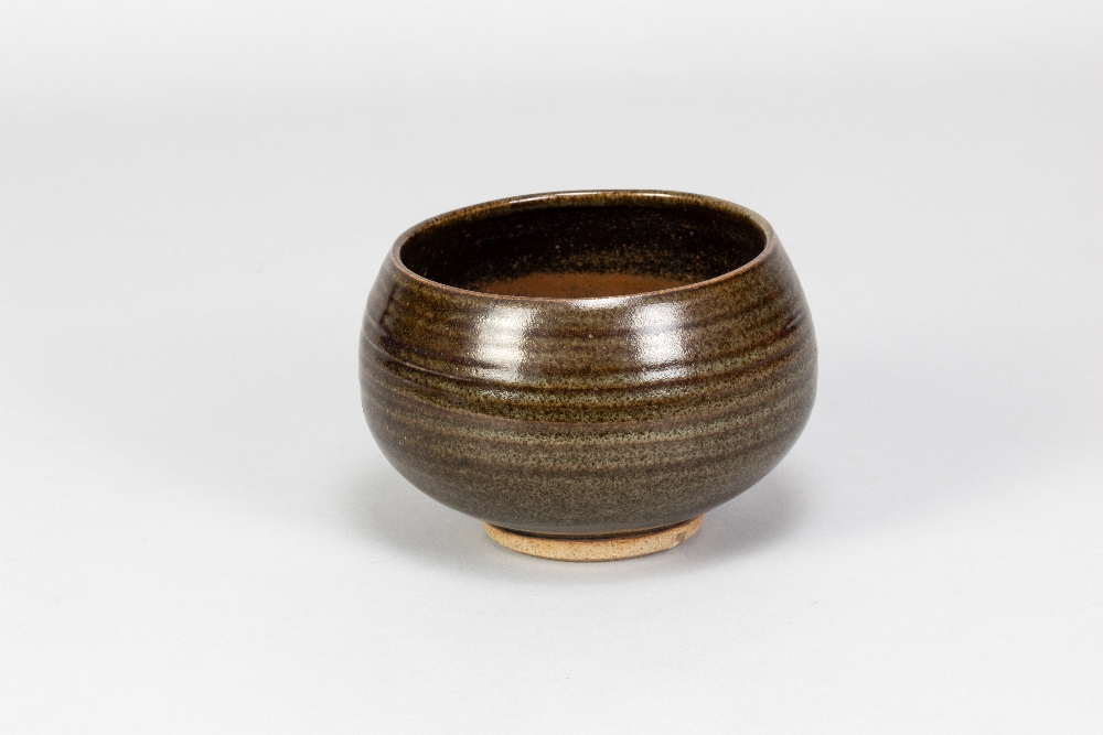 PAUL BARRON (1917-1983); a stoneware chawan covered in tenmoku and mottled green glaze, impressed - Image 2 of 5