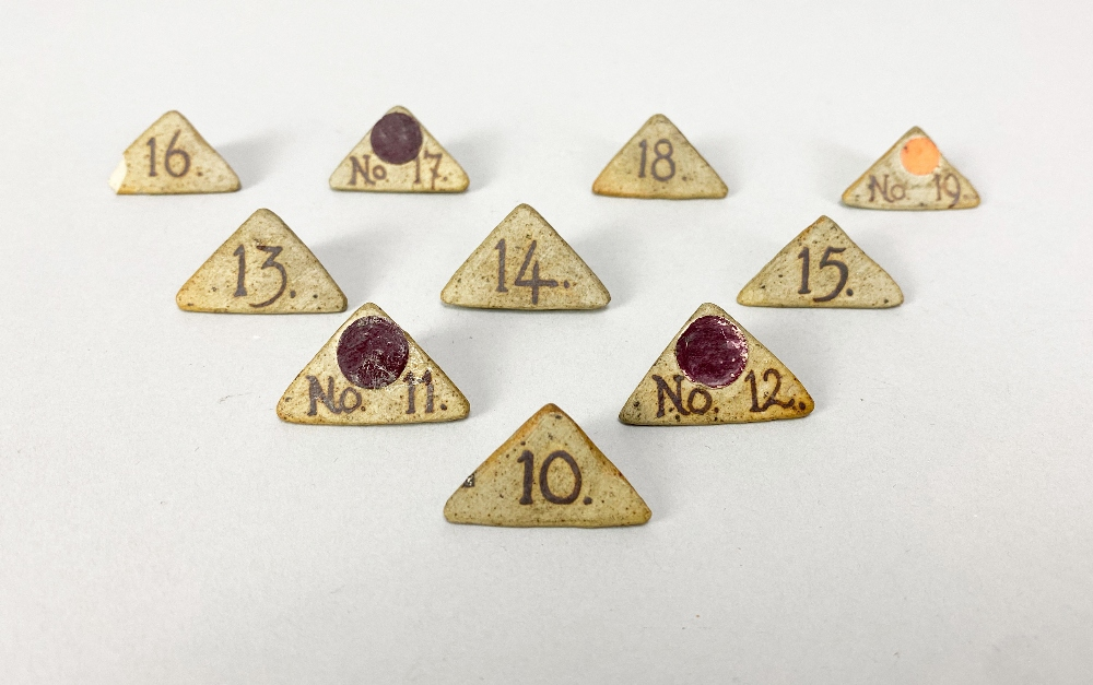 MARGARET REY (1911-2010); a set of triangular stoneware exhibitionnumbers, made 1938, and an - Image 3 of 9