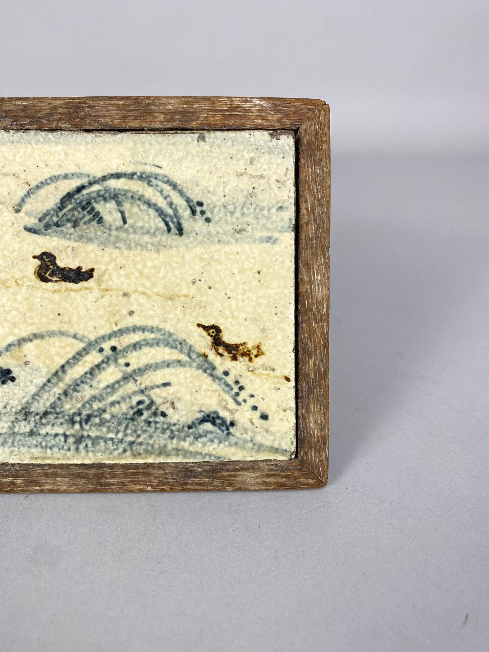 BERNARD LEACH (1887-1979) for Leach Pottery; a stoneware tile depicting ducks and reeds in - Image 3 of 4
