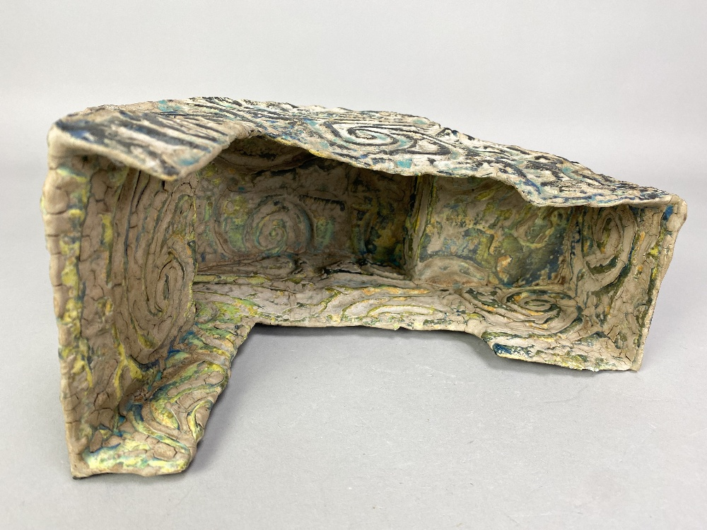 HENRY PIM (born 1947); a stoneware rocking cradle form, textured and incised surface covered in - Image 3 of 5