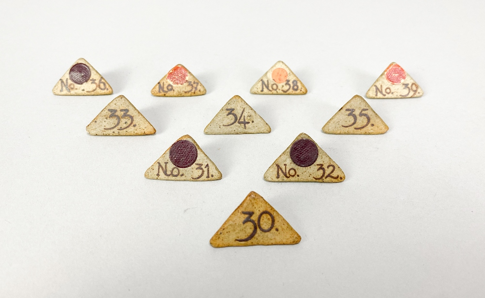 MARGARET REY (1911-2010); a set of triangular stoneware exhibitionnumbers, made 1938, and an - Image 5 of 9