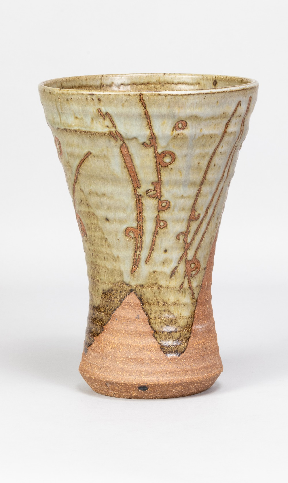 MICHAEL CASSON (1925-2003); a waisted stoneware vase partially covered in green glaze with wax - Image 2 of 5