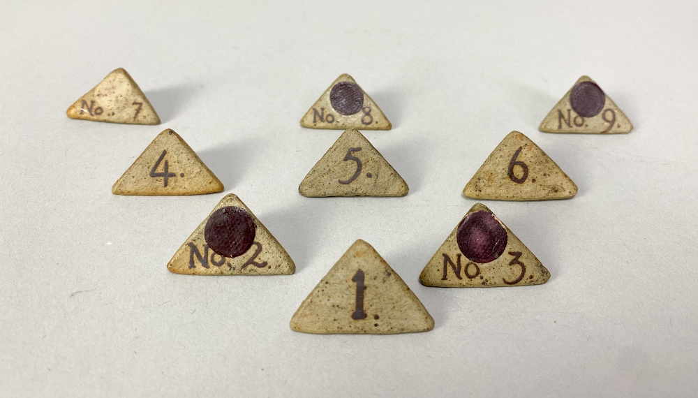 MARGARET REY (1911-2010); a set of triangular stoneware exhibitionnumbers, made 1938, and an - Image 2 of 9