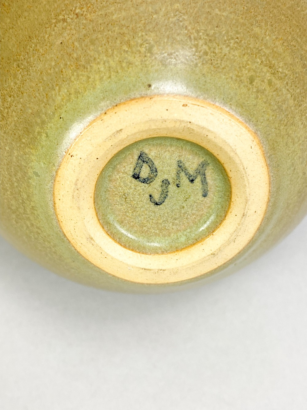 DONALD MILLS (1922-1996); a small stoneware bottle with iron floral decoration on green ground, - Image 5 of 5