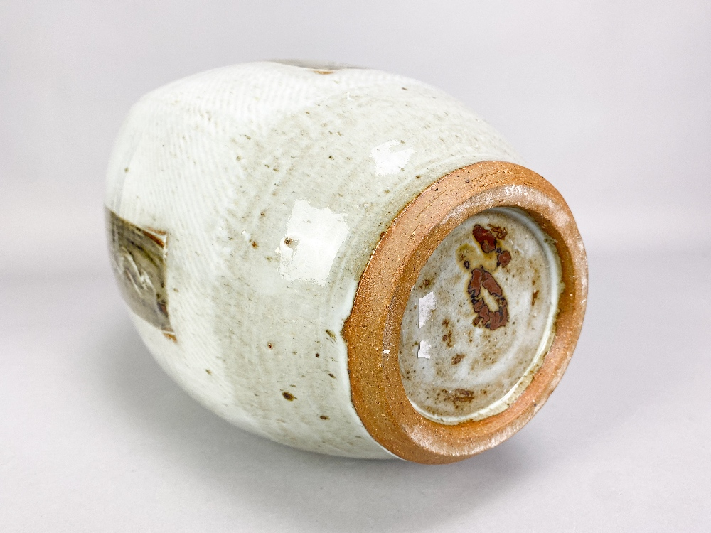 WILLIAM PLUMPTRE (born 1959); a tall stoneware bottle covered in braided white glaze decorated - Image 4 of 4