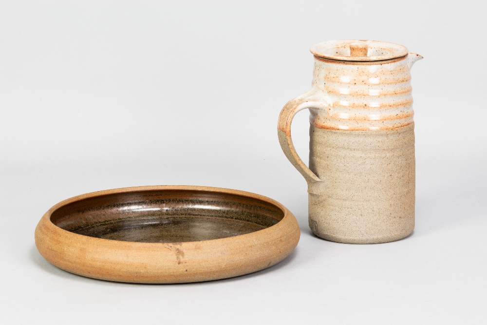 COLIN PEARSON (1923-2007); a stoneware coffee pot with shino topand a stoneware dish, impressed - Image 2 of 7
