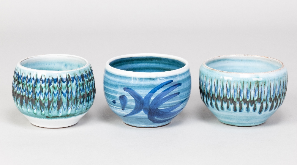 DENNIS LUCAS (1926-1999) for Hastings Pottery; three tin glazed earthenware bowls, impressed pottery