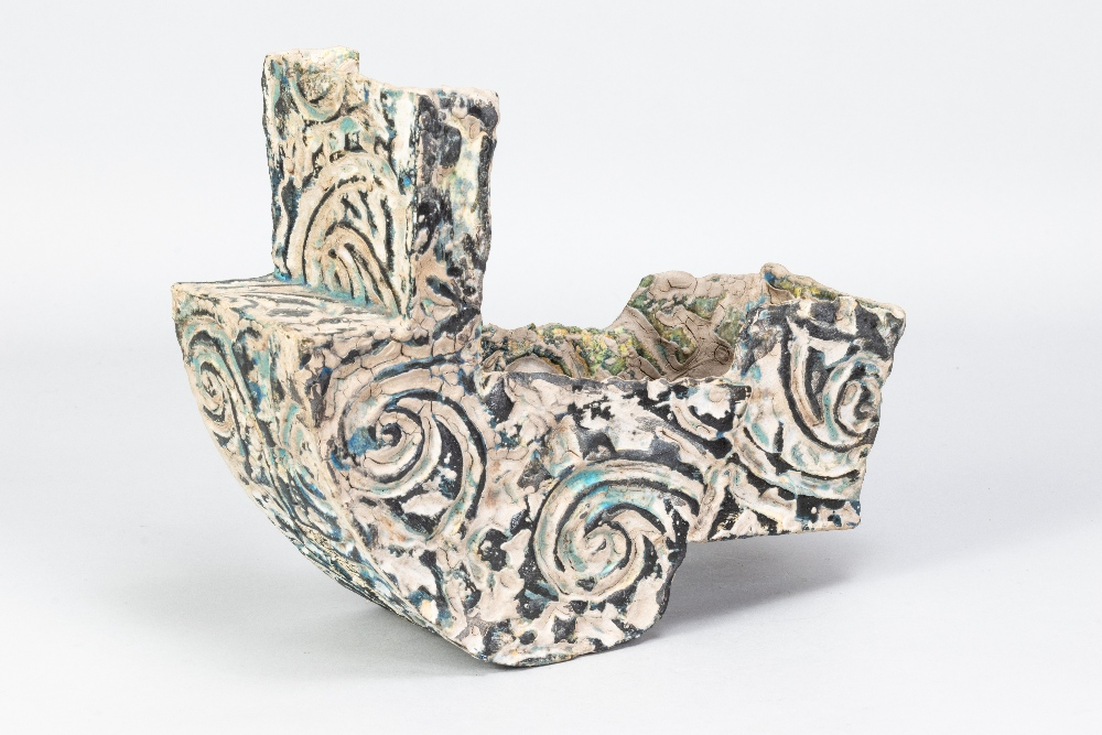 HENRY PIM (born 1947); a stoneware rocking cradle form, textured and incised surface covered in - Image 2 of 5