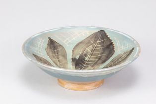 SYBIL FINNEMORE forYellowsands Pottery; a stoneware footed dish with incised and painted leaf