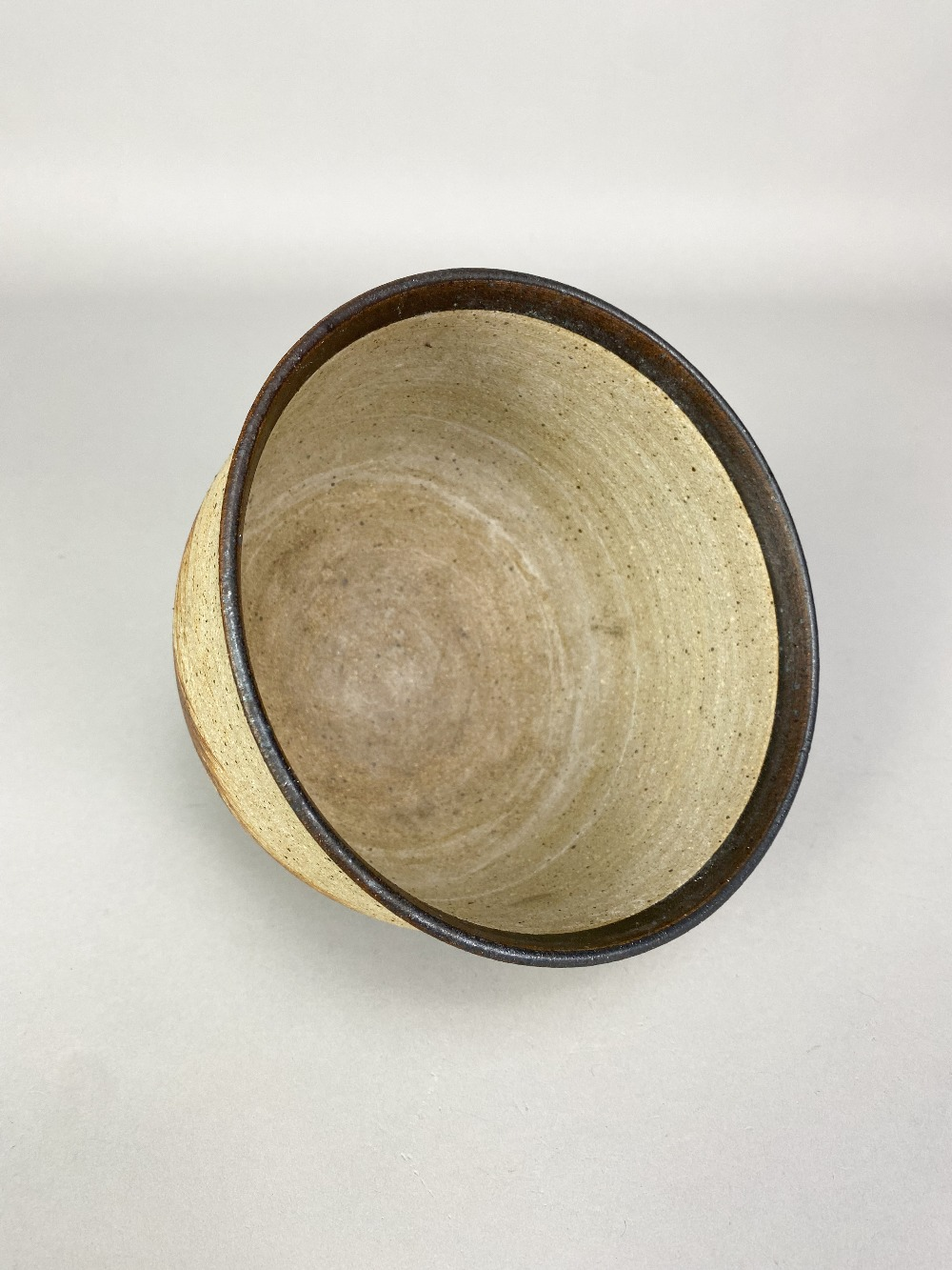 BARBARA CASS (1921-1992); a stoneware bowl with manganese rim and iron decoration, incised BC - Image 3 of 5