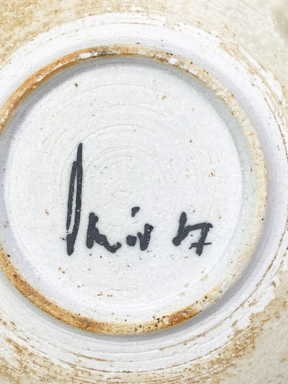 DEREK DAVIS (1926-2008); a porcelain dish covered in running green glaze on iron rich ground, - Image 5 of 5