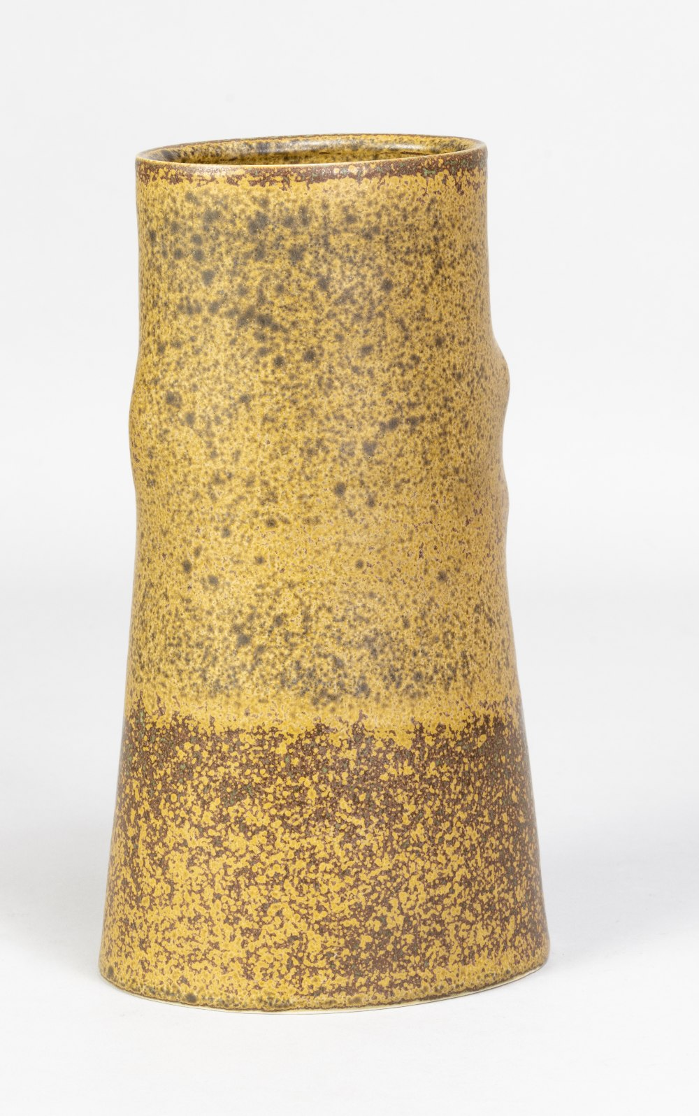EILEEN LEWENSTEIN (1925-2005); an oval tapered porcelain vase covered in mottled ochre glaze, - Image 2 of 5