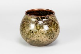 CHARLES VYSE (1882-1971); a stoneware vase covered in mottled green and tenmoku glaze, painted and