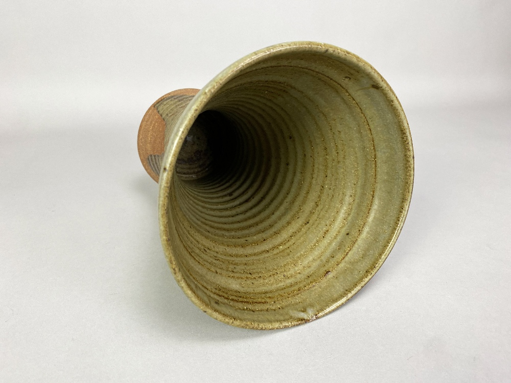MICHAEL CASSON (1925-2003); a waisted stoneware vase partially covered in green glaze with wax - Image 3 of 5