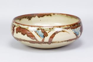 BERNARD LEACH (1887-1979) for Leach Pottery; a very large stoneware bowl with iron and cobalt