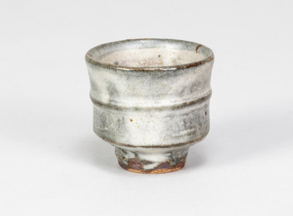 WILLIAM MARSHALL (1923-2007); a stoneware guinomi covered in grey glaze, impressed WM mark, height