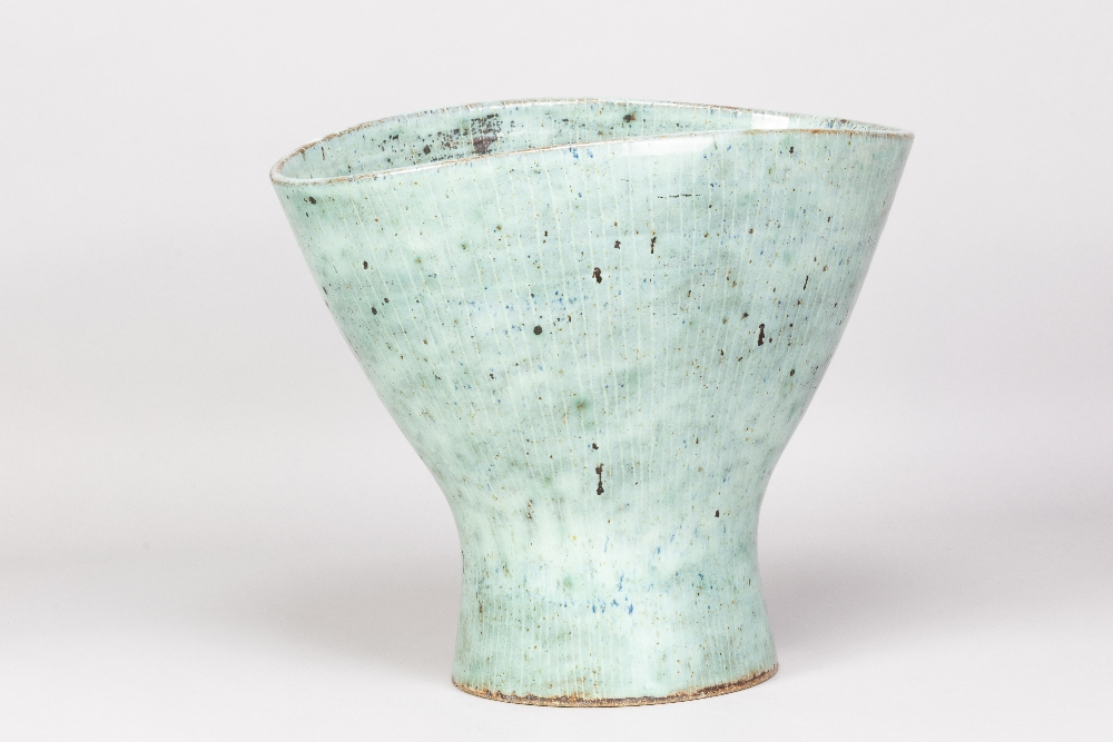 LUCIE RIE (1902-1995); a very large oval stoneware vase with squeezed rim and inlaid lines covered