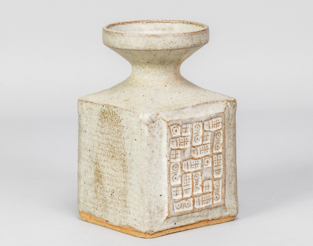 MO JUPP (1938-2018); a square stoneware vase with hieroglyphics covered in grey glaze, impressed MOJ - Image 2 of 6