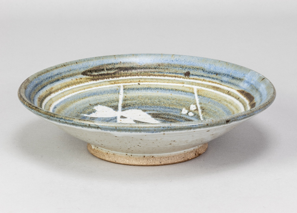BRYAN NEWMAN (1935-2019) for Aller Pottery; a stoneware footed dish with wax resist decoration on - Image 2 of 5