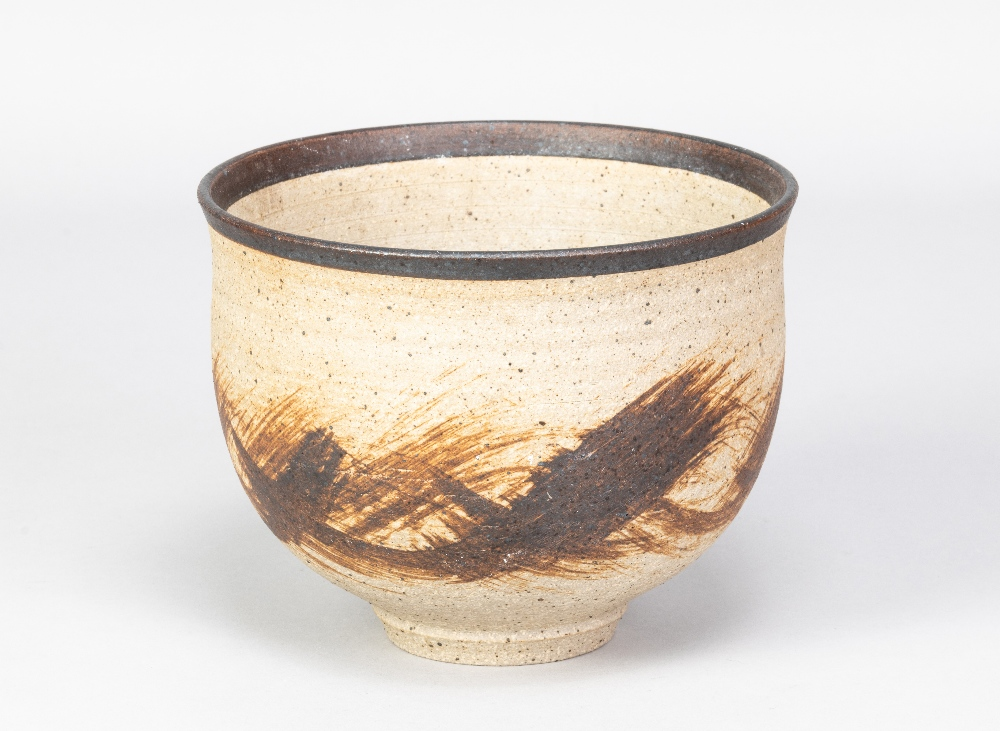 BARBARA CASS (1921-1992); a stoneware bowl with manganese rim and iron decoration, incised BC - Image 2 of 5